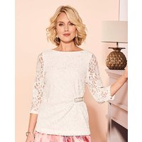 Nightingales Ivory Sequin Lace Top