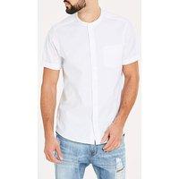 White S/S Stretch Grandad Oxford Shirt