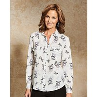 Printed Utility Blouse with Pockets