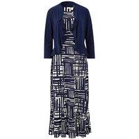 Navy/Ivory Print Dress and Shrug L45