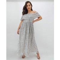 Maya Curve Bardot Sequin Maxi Dress