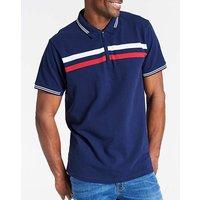Navy Zip Neck Polo Shirt Regular