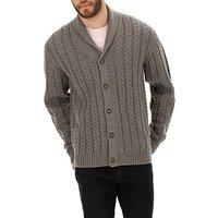 Grey Cable Knit Shawl Collar Cardigan