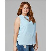 Pale Blue Zip Side Vest Top