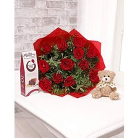 Image of 12 Roses with Teddy and Chocolates