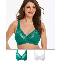 2Pack Ella Lace NonWired Emer/White Bra