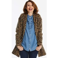 Leopard Print Shawl Collar Coat