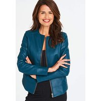 Deep Teal Collarless Faux Leather Jacket
