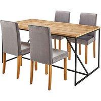Fashion World Soho Dining Table & 4 Mia Velvet Chairs