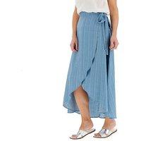Stripe Soft Tencel Denim Wrap Maxi Skirt
