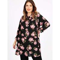 Koko Black Rose Print Long Sleeve Shirt