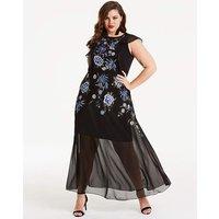 Joanna Hope Embroidered Sheer Maxi Dress