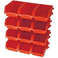 Faithfull 12 Plastic Storage Bins with W