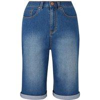 24/7 Blue Knee Length Denim Shorts