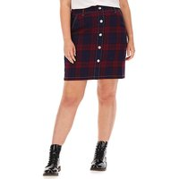 Red Check Co-ord Denim Skirt