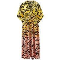 Ombre Zebra Print Maxi Kimono