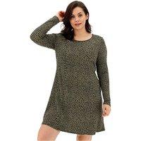 Khaki Leopard Print Swing Dress