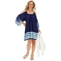 Blue Tie Dye Swing Cold Shoulder Dress