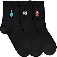 3 Pack Christmas Embroidered Socks