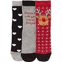 3 Pack Rudolph Christmas Socks