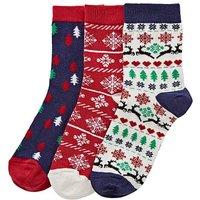3 Pack Fairisle Christmas Socks