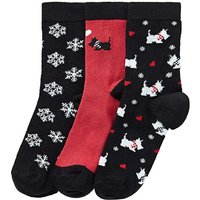 3 Pack Scotty Dog Christmas Socks