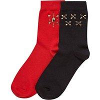 2 Pack Gem Studded Ankle Socks