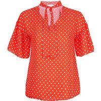 Lovedrobe Orange Polka Dot Tie Neck Top