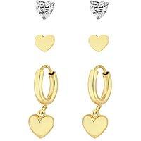 Simply Silver Heart Earrings - Pack of 3.