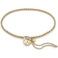 9 Carat Gold Rope Chain Padlock Bracelet.