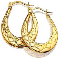 9ct Gold Patterned Creole Hoop Earrings