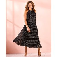 Joanna Hope Foil Pleated Maxi Dress
