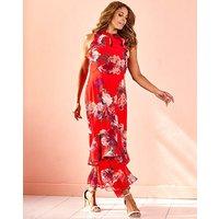 Joanna Hope Red Print Frill Maxi Dress