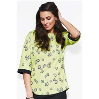 Lime Print Boat Neck Top
