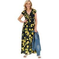 Apricot Maxi Lemon Print Dress