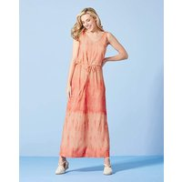 Coral/ White Tie Dye Maxi Dress