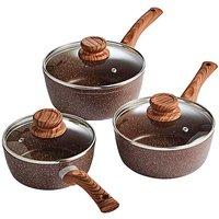 Three Piece Wood Effect Cookware Set
