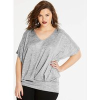 Silver Pleat Front Hem Top