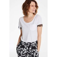 Lace Sleeve Pocket T Shirt