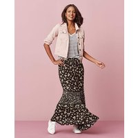 Tiered Maxi Skirt with Ladder Lace Trim
