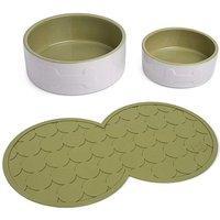 Petface Cream and Olive Pet Bowl Set