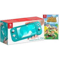 Switch Lite Turquoise and AnimalCrossing.