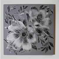 Arthouse Silver Floral Metallic Canvas