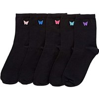 5 Pack Butterfly Embroidered Ankle Socks