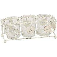Image of Hearts Triple Glass Tea Light Holder