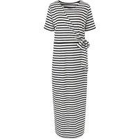 White Stripe Knot Maxi Dress