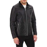 Leather Faux Fur Collar Coat Long