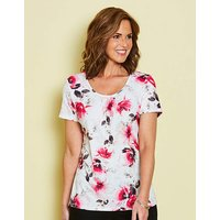 Ivory Floral Round Neck Jersey Top