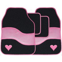 4 Pce Pink Carpet Mat Set With Heart