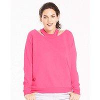 Hot Pink Cut Out Neck Sweatshirt